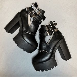 Shoes - Gothic Black Platform Buckle Booties Chain Detail